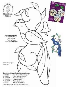 Free Stained Glass Pattern 2224-Provincial Bird bird, stain glass, stained glass pattern
