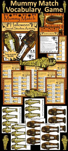 Mummy Match Halloween Vocabulary Game : Bone up on your mummy terminology with this fun Halloween game! Students match mummy definitions with the appropriate sarcophagus lid terms. A match seals your mummy's tomb!  Contents include: * Mummy Match Hallowee