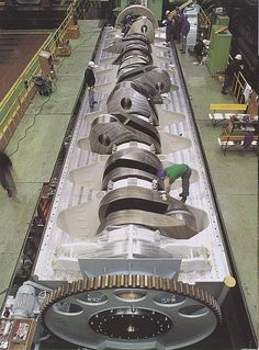 Crank shaft - Marine diesel engine. Crankshaft of a 2 stroke sulzer RTA 96 by the looks of things. One of the most powerful marine engines in production.
