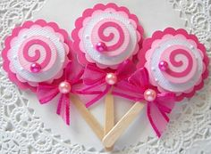 Pink Lollipop Embellishments/Cupcake Toppers-Set of 3