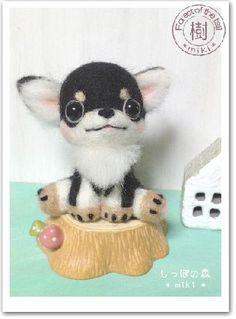 チワワブラックタンの子犬★羊毛フェルト|Craft Cafe(クラフトカフェ)