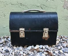 Vintage Black Steel Industrial Lunch Box With Chrome Handle Antique Working Mans Lunch Pail Factory Lunchroom Decor Photo Movie Prop by LoftAtticEarth on Etsy