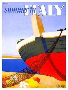 Italiaanse reizen Poster Italië Art Print Retro door Blivingstons