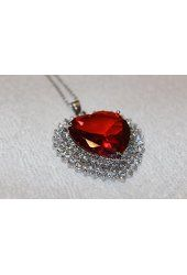Heart Pendant Necklace Red Crystal Rhinestone Titanic Heart of Ocean 18K White…