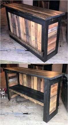 How to make a DIY Pallet Bar? How to make a DIY Pallet Bar? How to make a DIY Pallet Bar? – Is it your friend's birthday or some big event coming up in few days? If yes and you wanted to surprise him then making a DIY pallet bar is a great … Pallet Counter, Wood Pallet Bar, Wood Pallet Furniture, Bar Furniture, Wood Pallets, Rustic Furniture, Unique Furniture, Cheap Furniture, Luxury Furniture