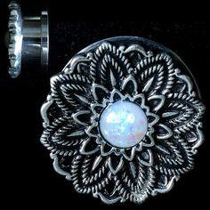 12f6613b7 Black and Silver Stainless Flower W/ SYN White Opal center Screw Back Ear  Gauges (. So Scene
