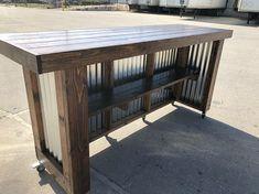 The Plank Provincial - 8 foot mobile corrugated metal exterior patio bar Le Plank Provincial 8 pieds Bar Patio, Deck Bar, Outdoor Patio Bar, Backyard Bar, Porch Bar, Wood Patio, Plank, Bar Mobile, Diy Außenbar