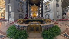 Use your computer to see the inside of the basilica and its splendid artwork; zoom in for a closer look.