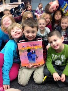 "Ed Spicer's first graders with ""AL and TEDDY."" Learn more about the story on the book's spectacular new website - www.alandteddy.com."