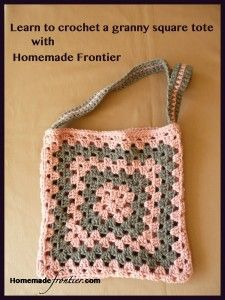 Learn to crochet granny squares.  Videos and support.  This weekend, Homemade Frontier is hosting a crochet-a-long and are making this tote.