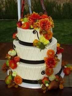 Orange Flowers on Wedding Cake