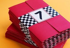 Race Car Birthday Invitations with the AGE as the number! - The Motor Show Nascar Party, Race Car Party, Festa Hot Wheels, Hot Wheels Party, Hot Wheels Birthday, Race Car Birthday, 3rd Birthday, Car Themed Parties, Cars Birthday Parties