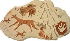 These primitive cave art slabs are a great way to teach students about the earliest forms of art. Start by showing students images of earl. Clay Projects For Kids, Animal Art Projects, Stone Age Art, 2nd Grade Art, Ecole Art, Ceramics Projects, Art Lessons Elementary, Aboriginal Art, Art Classroom