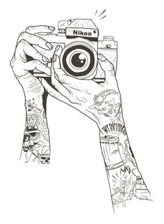 Tatted Up Arms Holding Up Camera to Snap a Picture. #Illustration #Camera…