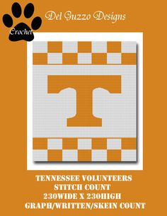 (4) Name: 'Crocheting : Tennessee Volunteers Crochet Graph