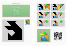 Tangram worksheet 50 : Bear - This worksheet is available for free download at http://www.tangram-channel.com
