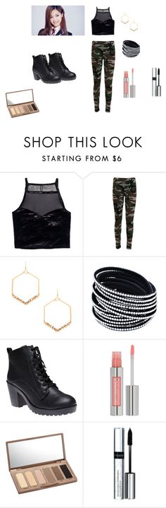 """TWICE Tzuyu Inspired"" by chaeyeonj ❤ liked on Polyvore featuring H&M, WearAll, Mimi & Lu, Wet Seal, Urban Decay, By Terry, black, Dark and kpop"