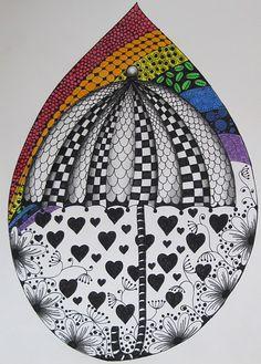 rainbow zentangle    ~ tj-runningwithscissors.blogspot.com