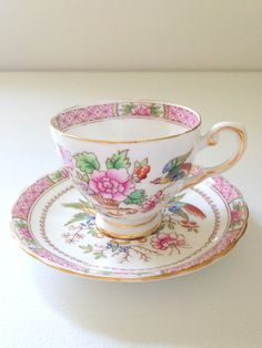 English Bone China Tuscan Demitasse Teacup and Saucer Little Princess Tea Party