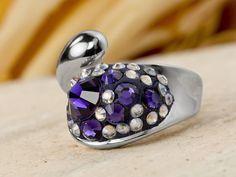 Purple Pavé Ring | artbeads.com | Crystal Clay | epoxy clay | Swarovski crystals