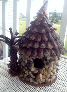 Tiki beach birdhouse crafted with pinecone roofing by aunteeker, $47.00