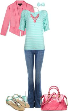 """Pale Mint and Pink"" by pamnken ❤ liked on Polyvore"