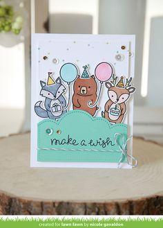 Lawn Fawn party animal card by Nicole Gavaldon.
