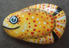 Hand Painted Rock, Fish Pin or Magnet