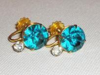 Big Blue Rhinestone Goldtone Screw on Earrings - Vintage