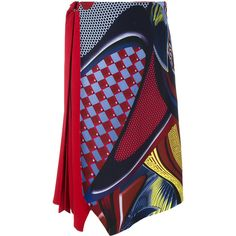 Versace \'Energy Wave\' Asymmetric Midi Skirt ($896) ❤ liked on Polyvore featuring skirts, red asymmetrical skirt, asymmetrical hem skirt, versace, knee high skirts and layered skirt