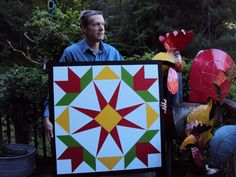 Barn Quilt Pattern Summer Star Flower Barn Quilt painted by Clay Young, Bat Cave, Hickory Nut Gorge, North Carolina