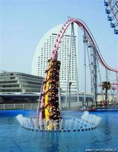 Now that would be fun! Roller Coaster dives Underwater located in Yokohama Japan.