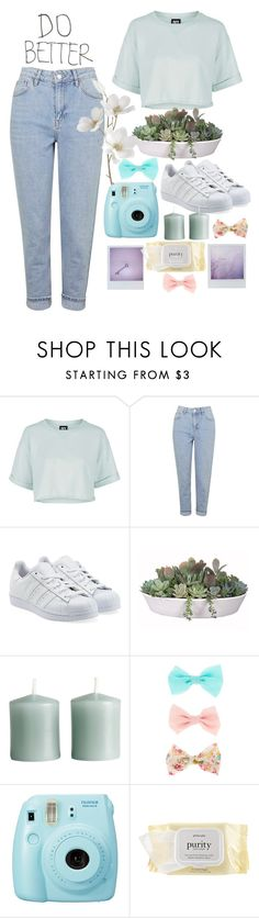 """""""Do better"""" by perfectjackbgg ❤ liked on Polyvore featuring Topshop, adidas Originals, VesseL, H&M, Fuji, philosophy and Pier 1 Imports"""