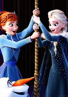 Anna and Elsa ringing the bell