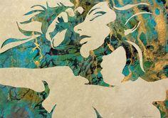 "Original Art , Female Figure in Mixed Media (handmade paper on paper) & Metallic Paint ""Release"" by Marcy Ann Villafaña Kate Shaw, Painting Workshop, Metallic Paint, Mosaic Art, Artist At Work, Mixed Media Art, Moose Art, Original Art, Fine Art"