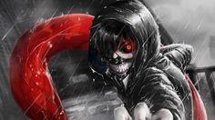 1920x1080 Wallpaper kaneki ken, tokyo ghoul, look, gesture, claw, rain