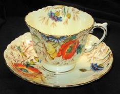 AYNSLEY TEXTURE ORANGE POPPY CREAM GOLD TEA CUP AND SAUCER by tracie