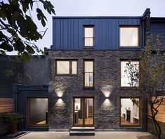 This project, a Victorian brick house in Islington, comprises of a side and roof extension, as well as extensive internal refurbishment. Elfort Road House has been transformed from dark and cluttered into light and spacious. Brick Siding, Brick Facade, Terraced House, Mansard Roof, Roof Extension, Extension Ideas, Timber Windows, Double Vitrage, London House