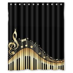 """Musical Notes With Piano Waterproof Fabric Polyester Bathroom Shower Curtain with 12 Hooks 60""""(w) x 72""""(h) Qearl"""