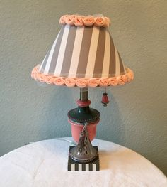 Lamp coral and gray striped lampshade handpainted chain pull by HolyChicBoutiqueCo on Etsy