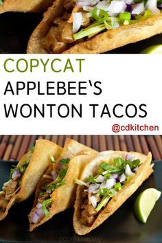 A homemade version of Applebee's popular chicken wonton tacos appetizer with zesty Asian slaw. Chicken Wonton Tacos, Chicken Wontons, Shrimp Wonton, Chicken Wraps, Taco Appetizers, Appetizer Recipes, Italian Appetizers, Appetizer Ideas, Asian Recipes