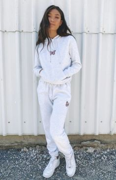 Cool and casual in thestormi butterfly trackpants grey. Our fave butterfly graphic now comes in the outfit of the season - sweatpants! Wear them with a basic top or matching hoodie.  grey butterfly track pants grey marle fabric with an embroidered butterfly on the left side elastic drawstring waist elastic ankles side pockets super soft fleece fabric designed locally in brisbane Cute Sweatpants Outfit, Cute Hoodie, Grey Hoodie, Cute Lazy Outfits, Chill Outfits, Casual Outfits, Lounge Outfit, Lounge Wear, Teen Fashion Outfits