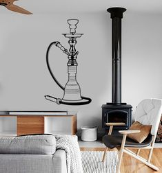 Wall Vinyl Hookah Shisha Smoking Cool For Restaurant by BoldArtsy