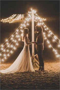 teepee wedding ceremony with bistrolights / http://www.deerpearlflowers.com/romantic-wedding-lightning-ideas/