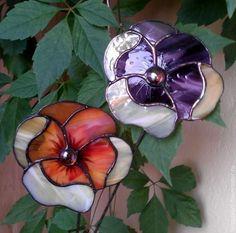 """Купить """"Анютины глазки"""" разноцветные, декор для цветов - Витраж, тиффани, цветы, подарок, сувениры, стекло #StainedGlassGarden"""