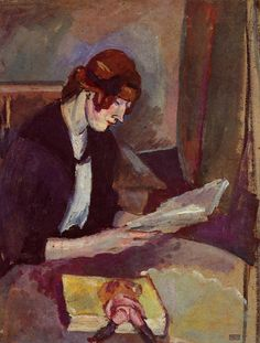 Hermine David Reading (1908). Jules Pascin (American and Bulgarian, active in France, 1885–1930). Oil on canvas.