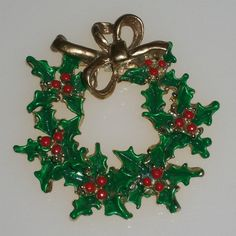 Vintage+Christmas+Pin+Brooch+Red+Green+Wreath+by+4dollsintime