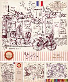 Vector Vintage Paris style post card set