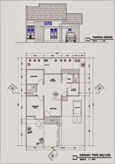 Denah Rumah Minimalis Type 60 Dream House Sketch, House Sketch Design, Vintage House Plans, Modern House Plans, Bungalow House Design, Small House Design, Minimalist House Design, House Drawing, Facade House