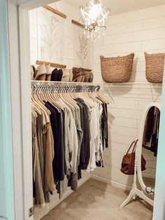 Small closet small closet organization shiplap walls closet organizing organizing a small closet organizing tips organized closet standup mirror pretty closet Closet Refresh: How to Organize a Small Closet Closet Bedroom, Home Bedroom, Room Decor Bedroom, Bedrooms, Bedroom Ideas, Mirror Bedroom, 1930s Bedroom, Dorm Closet, Closet Mirror